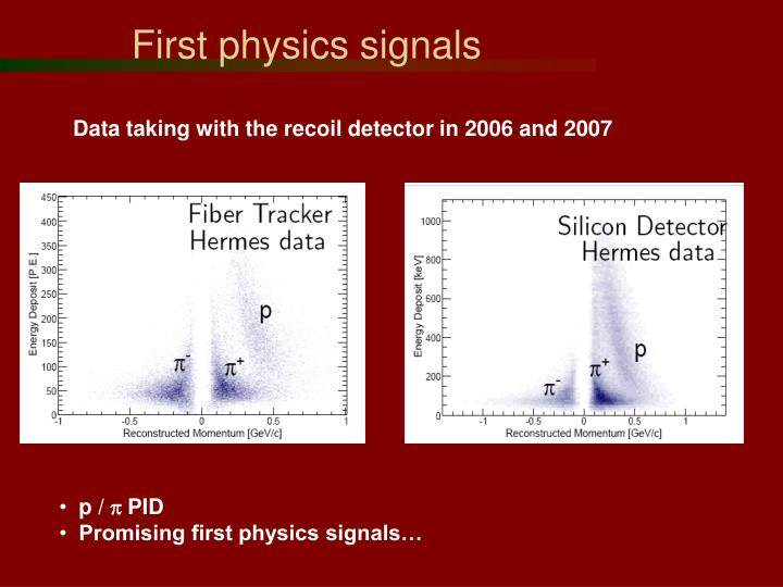 First physics signals
