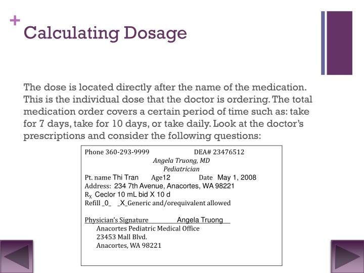 Calculating Dosage