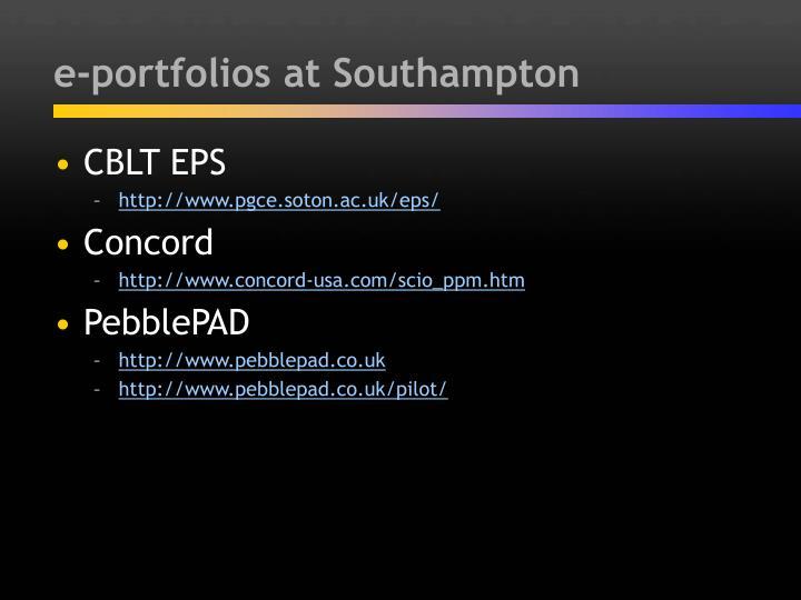 e-portfolios at Southampton