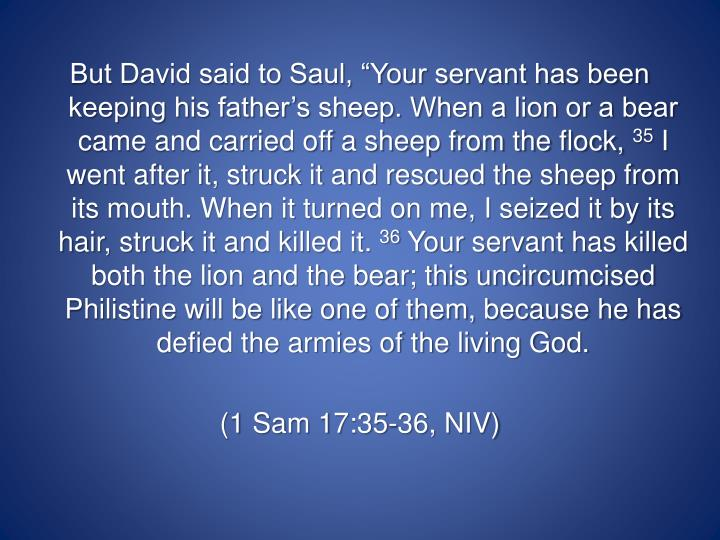 """But David said to Saul, """"Your servant has been keeping his father's sheep. When a lion or a bear came and carried off a sheep from the flock,"""