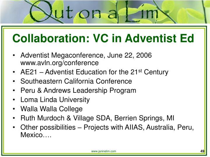 Collaboration: VC in Adventist Ed