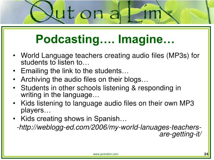 Podcasting…. Imagine…