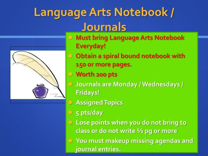 Language Arts Notebook / Journals