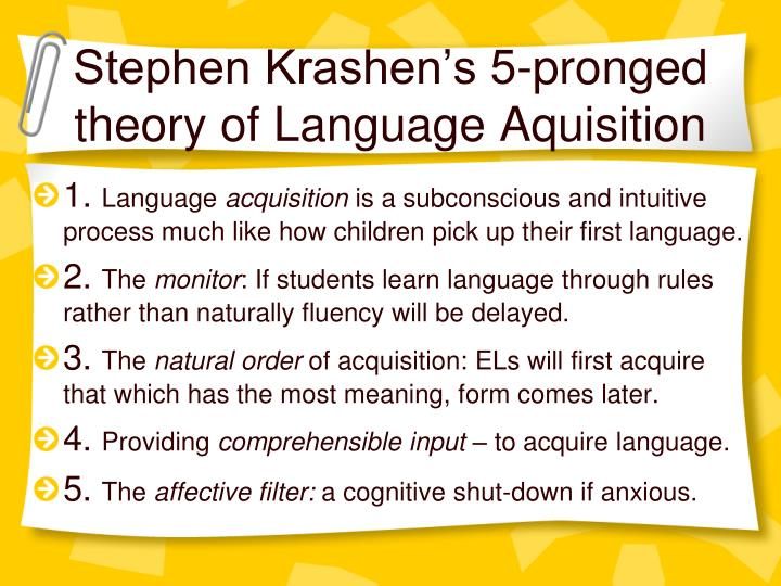 krashen s theory Krashen's five proposals on language learning: are they valid in  krashen's theory seems to be attractive to many language teachers all over the world.