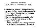 learning objective 3 p type i error significance level