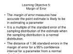 learning objective 5 margin of error