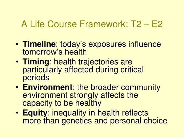 A life course framework t2 e2