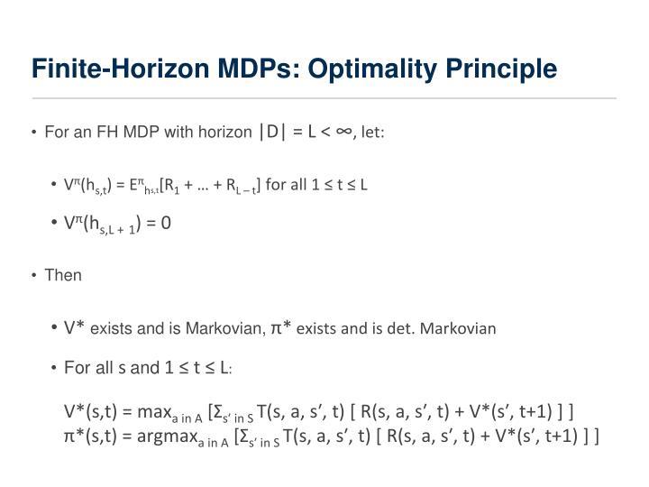Finite-Horizon MDPs: Optimality Principle