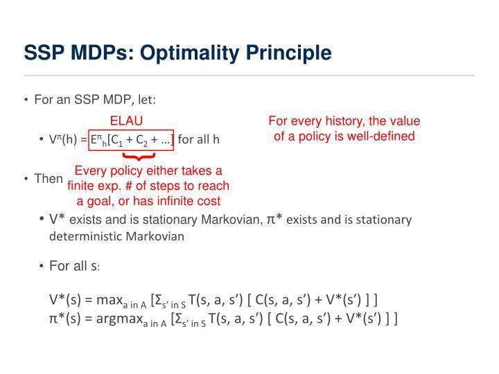 SSP MDPs: Optimality Principle