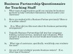 business partnership questionnaire for teaching staff