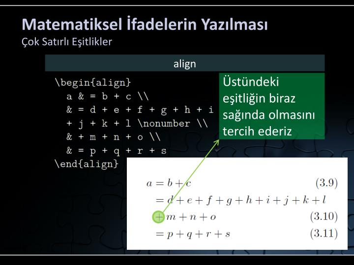 Matematiksel İfadelerin Yazılması