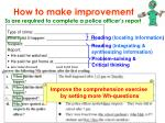 how to make improvement