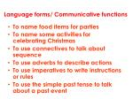 language forms communicative functions