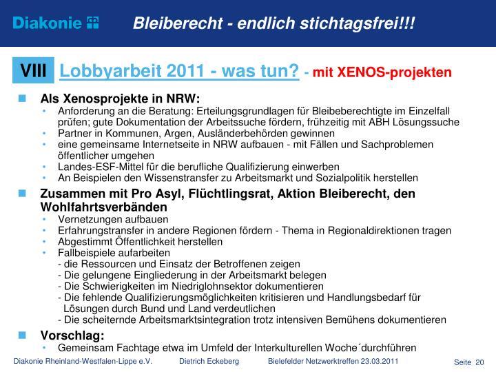 Als Xenosprojekte in NRW: