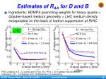 estimates of r aa for d and b