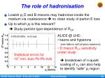 the role of hadronisation