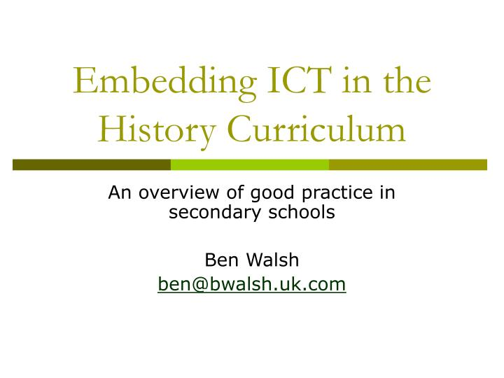 embedding ict in the history curriculum n.