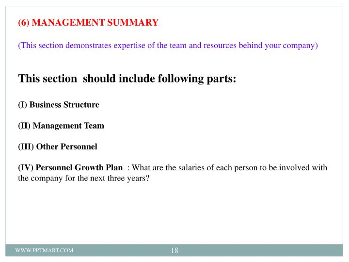 (6) MANAGEMENT SUMMARY