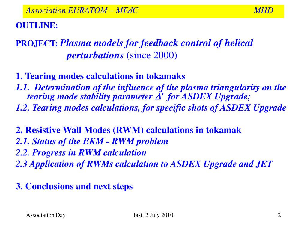 PPT - Association EURATOM – MEdC MHD PowerPoint Presentation - ID