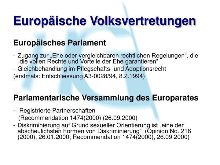 Europäische Volksvertretungen