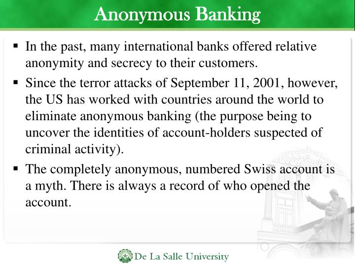 Anonymous Banking
