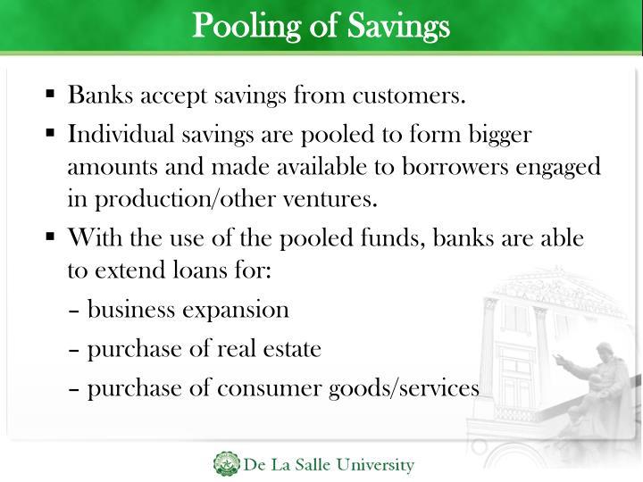 Pooling of Savings