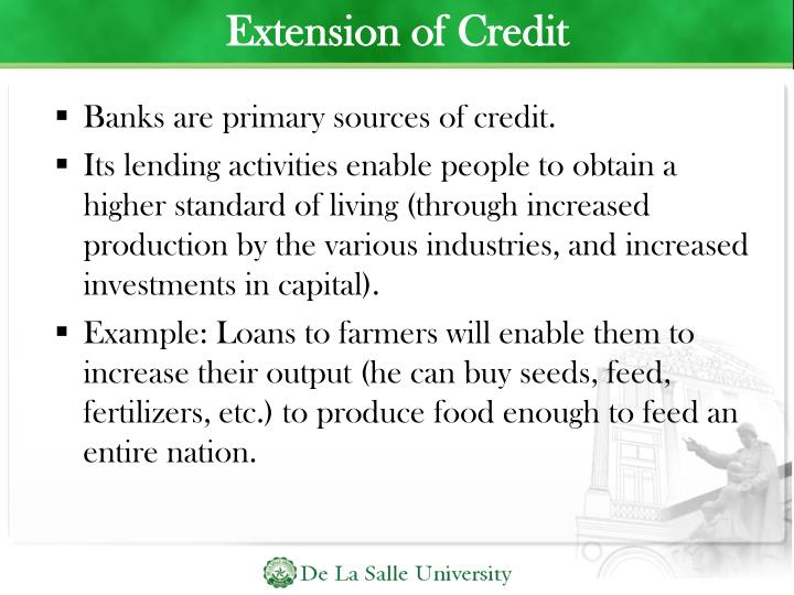 Extension of Credit