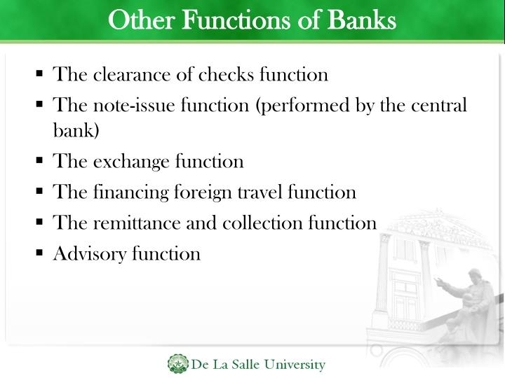 Other Functions of Banks