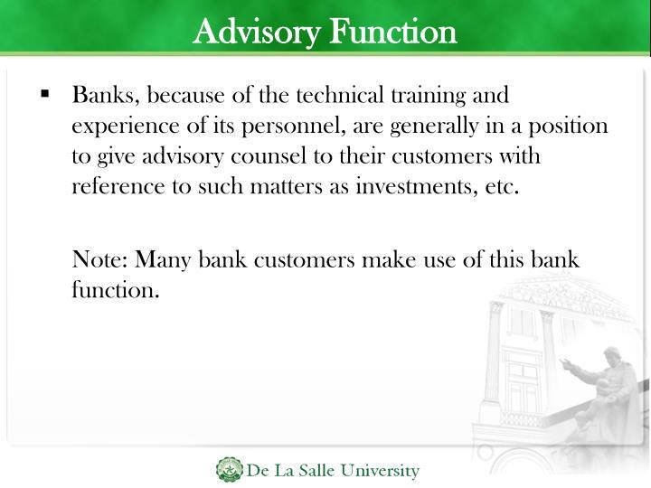 Advisory Function