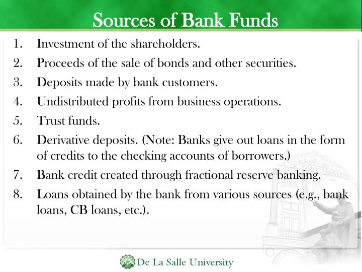 Sources of Bank Funds
