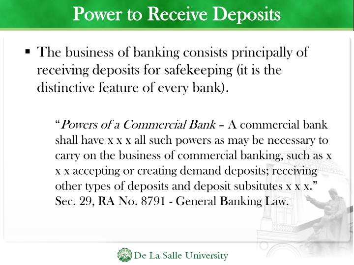 Power to Receive Deposits