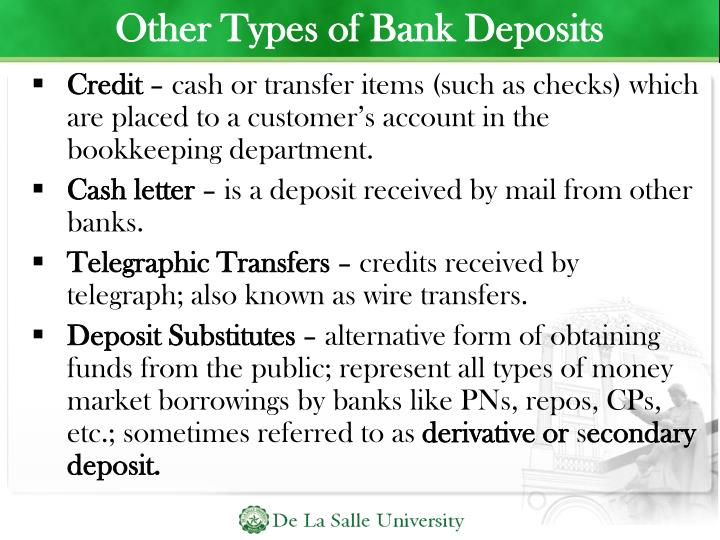 Other Types of Bank Deposits