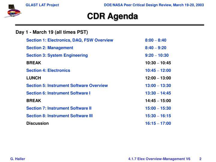 Cdr agenda
