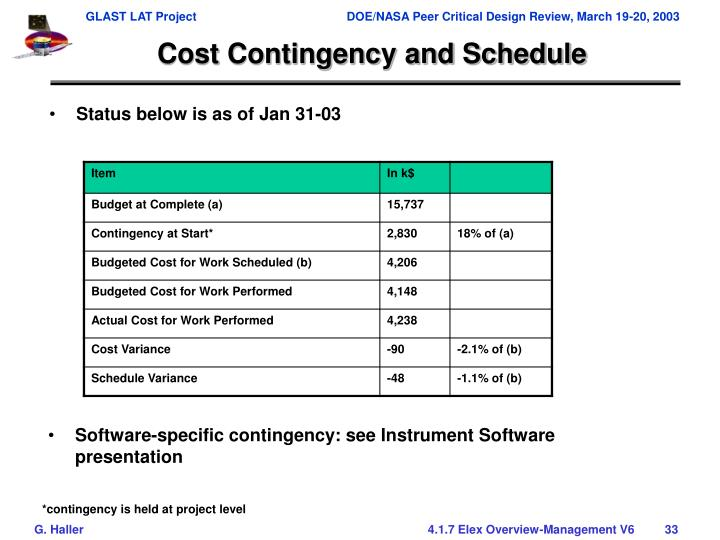 Cost Contingency and Schedule