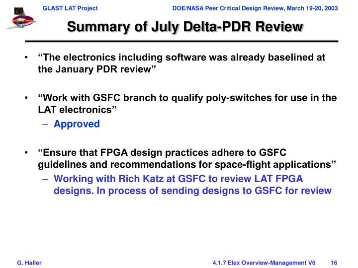 Summary of July Delta-PDR Review