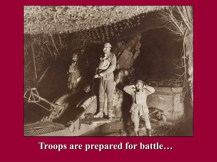 Troops are prepared for battle…