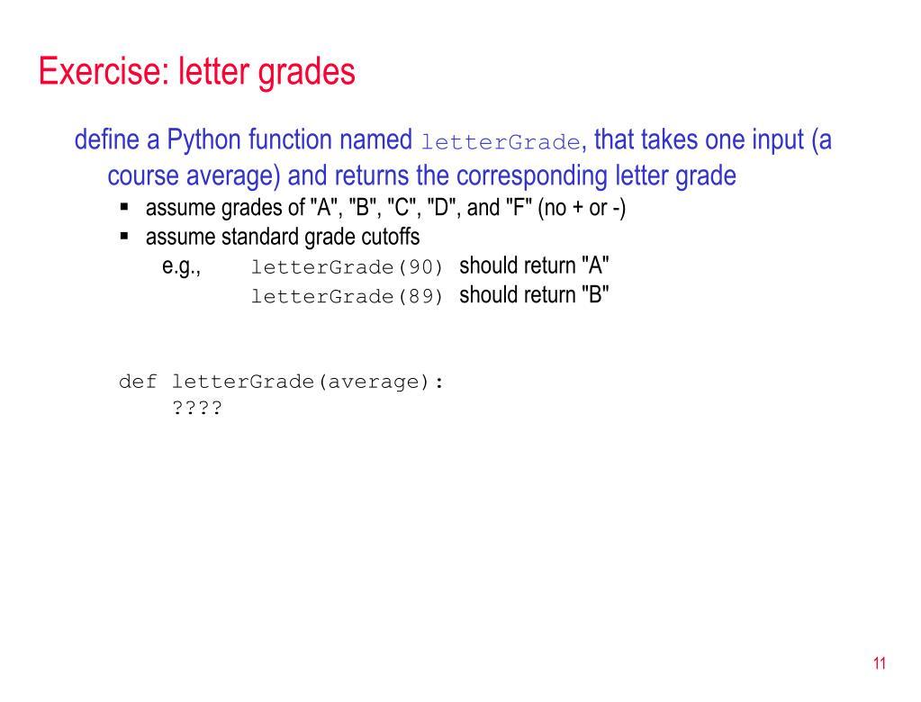 Python Letter Grade