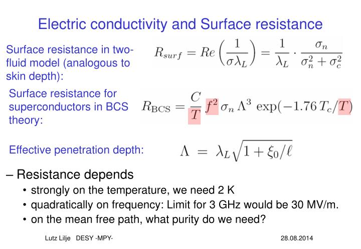 Electric conductivity and Surface resistance