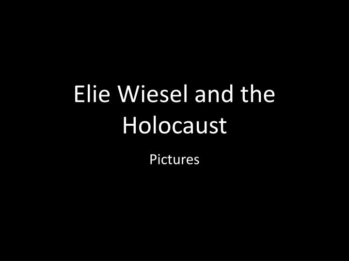 elie wiesel and the holocaust n.