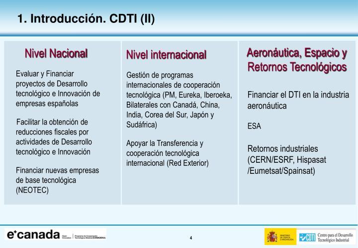 1. Introducción. CDTI (II)