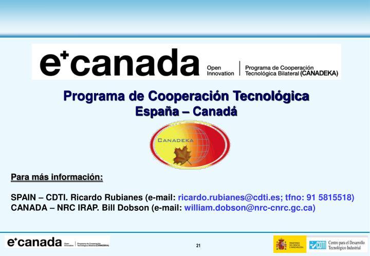 Programa de Cooperación Tecnológica