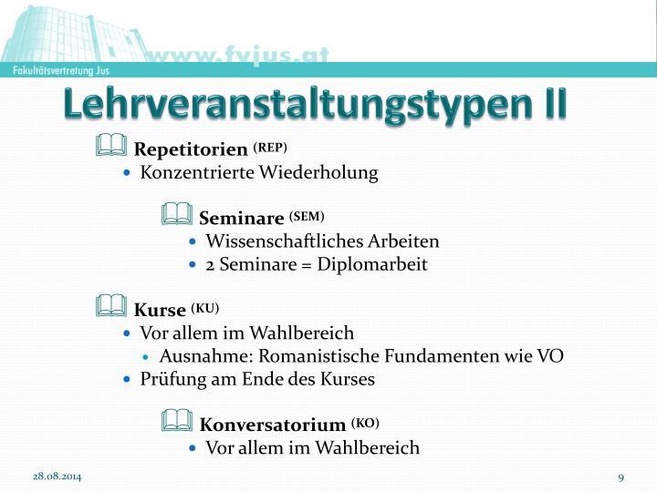 Lehrveranstaltungstypen II