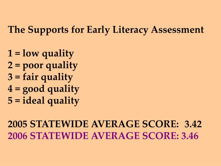 The Supports for Early Literacy Assessment