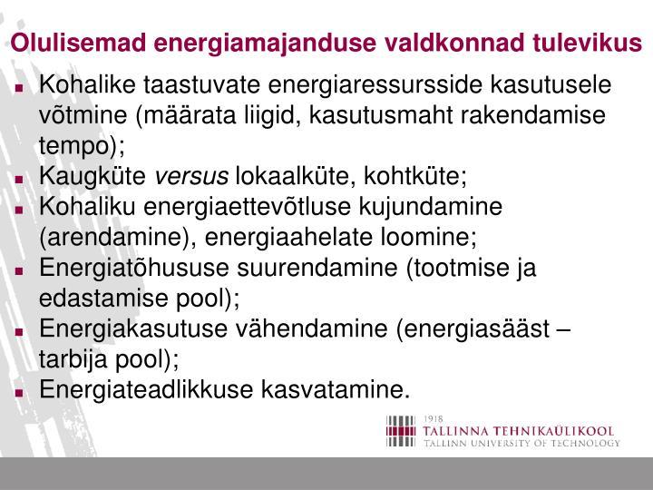 Olulisemad energiamajanduse valdkonnad tulevikus