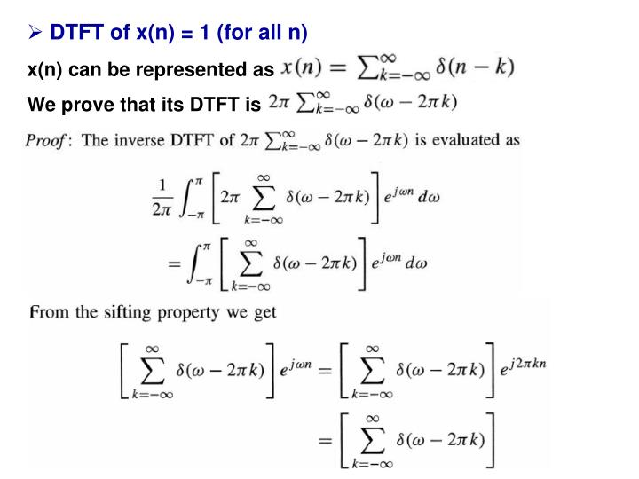 DTFT of x(n) = 1 (for all n)