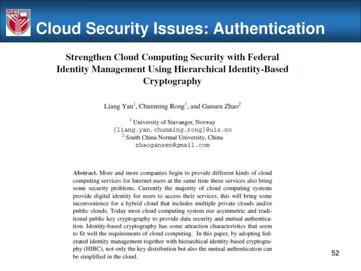 Cloud Security Issues: Authentication