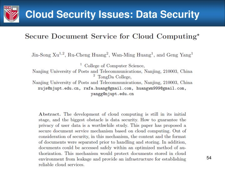 Cloud Security Issues: Data Security