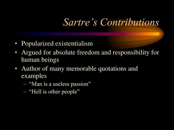 Sartre s contributions