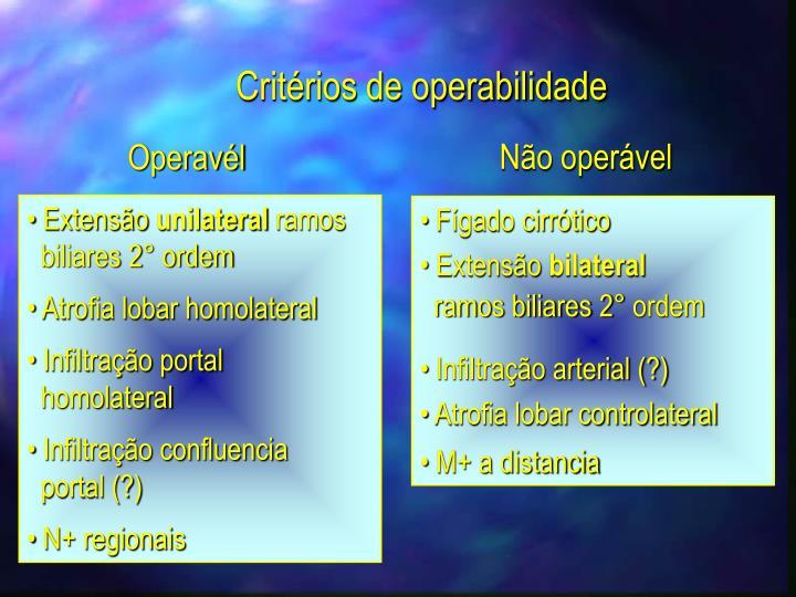 Critérios de operabilidade