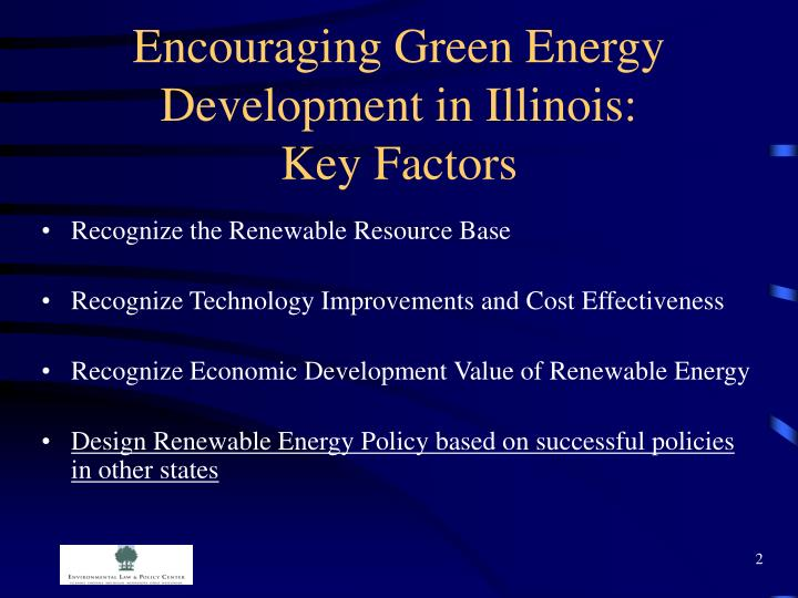 Encouraging green energy development in illinois key factors
